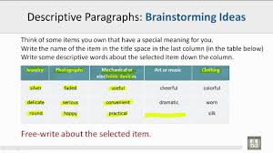 scientific english c l brainstorming for descriptive scientific english c2 l2 brainstorming for descriptive paragraph