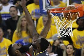 James Harden completes dunk in Draymond Green