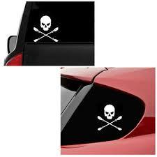 <b>2Pcs Waterproof</b> Skull Funny <b>Stickers</b> Fishing <b>Boat Kayak</b> Car ...