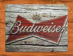 """Budweiser"" Beer <b>Vintage</b> Garage Rustic Wall <b>Decor Man</b> Cave TIN ..."