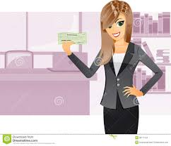 business girl holding cashier check stock vector image  business girl holding cashier check