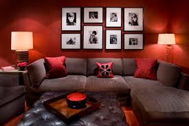 find the best living room color ideas designing city enchanting red with wall frame decorations completed astounding red leather couch furniture