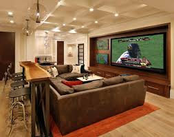 themed family rooms interior home theater: home theater basement ideas l shape grey sectional sofa music theme wall poster black leather sofa brown color leather reclining chairs awesome sky ceiling