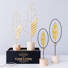 <b>Nordic style</b> Feather Shape Gold Iron <b>Wood Art</b> Work Desktop <b>Artist</b> ...