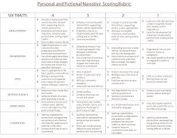 scoring rubric personal narrative genre six traits of writing scoring rubric