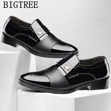 Patent <b>Leather</b> Pointed Toe Slip On Men <b>Dress Shoes Business</b> ...