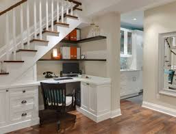 excellent home office design layout ideas with l shaped white laminated wooden cabinet table under stairs home decor alluring office decor ideas