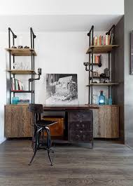 industrial home office desk and shelving unit crafted from pipes and reclaimed wood design unique design home office desk full