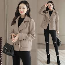 Women Lady <b>Woolen Wool</b> Blend Coat Short <b>Fashion</b> Slim <b>Double</b> ...