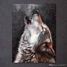2018 <b>Hd Printed</b> Canvas Art Howling Wolf Painting <b>Abstract Framed</b> ...