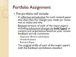 Portfolio Assignment The portfolio will include      A reflective introduction for each revised paper that