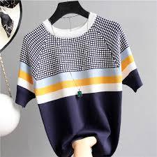 <b>shintimes</b> Thin Knitted Cotton T Shirt Women 2019 Summer Woman ...