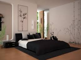 home decoration appealing bedroom design with white wall along bamboo sketch wall mural decor also white black bed and picture frame also black table plus appealing design ideas home