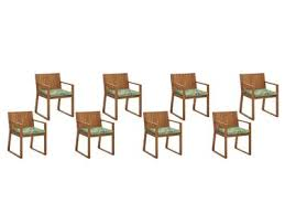 Set of 8 Garden <b>Dining Chairs with Cushions</b> Leaf Pattern Green ...