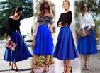 Что носить с синей длинной юбкой
