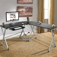 best choice products wood l shape corner computer desk pc laptop table workstation home office black buy office computer desk