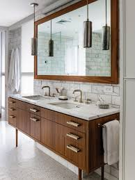 f modern brown varnishes oak wood bathroom vanity with white marble granite countertop and double white ceramic under mount sink under cool pendant lights bathroom vanity lights pendant