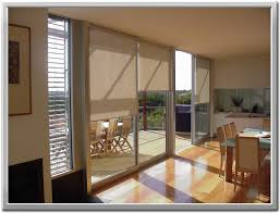 large sliding patio doors:  modern shade for large sliding glass door with light brown roller blind