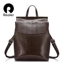 <b>Women</b> REALER <b>Women</b> Backpack <b>Split Leather</b> School Bag For ...