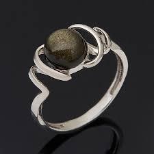 Купить <b>Кольцо обсидиан золотистый</b> Мексика (<b>серебро</b> 925 пр ...