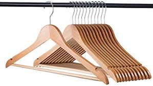Home-it (20 Pack <b>Natural Wood Hangers</b> - Solid <b>Wood Clothes</b>