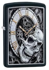 <b>Зажигалка Zippo Skull</b> Clock с покрытием Black Matte, 29854 на ...