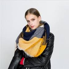Fashion Luxury <b>Brand</b> Winter Scarf Women Square Stitching Plaid ...