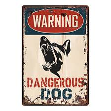 [ Kelly66 ] Warning Dangerous Dog <b>Metal Sign Tin</b> Poster Home ...