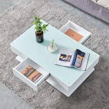 BOJU Modern White <b>High Gloss Coffee Table</b> with 2 Storage ...