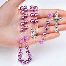 Charm <b>Faux Pearl Beads Rose</b> Flower Catholic Rosary Jesus Christ ...