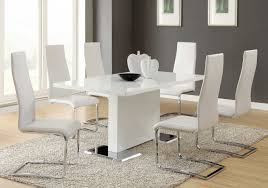 black and white dining table set: modern dining sets in white theme with rectangle upholstered chair in side type also silver