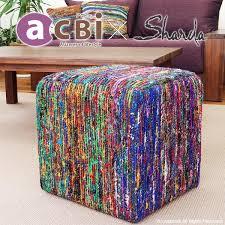 stool chair chair asian furniture bohemian recycled silk eco acbi actby sharda collaboration interior fashion india colorful cp177bk bohemian furniture
