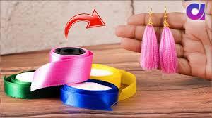 How to Make Tassel Earring From <b>Satin Ribbon</b> | <b>Satin ribbon</b> Craft ...
