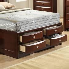 emily bedroom set light oak: queen roundhill emily espresso wood storage bed group bedroom collection