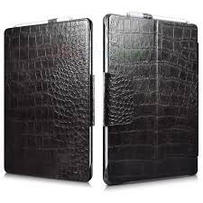 Surface Pro 6/2017/ 4 <b>Crocodile</b> Pattern <b>Genuine Leather Flip</b> Stand ...
