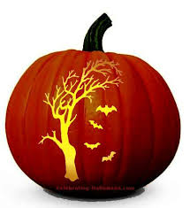 Spooky <b>Tree</b> and Bats <b>Pumpkin Carving Pattern</b> | <b>Halloween</b> ...