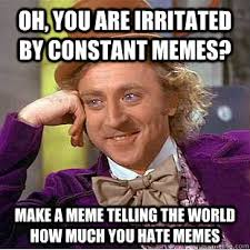 Oh, you are irritated by constant memes? Make a meme telling the ... via Relatably.com