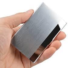 Pocket <b>Stainless</b> Steel & Metal <b>Business Card Holder</b> Case ID Credit ...