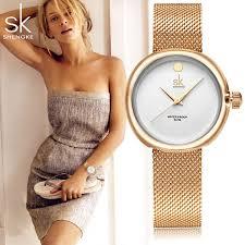 Shengke <b>SK Fashion</b> Quartz Women Watches Stainless <b>Ultra Slim</b> ...