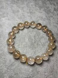 <b>Natural Gold Titanium</b> Rutilated Quart Beads Crystal Bracelet AAA ...