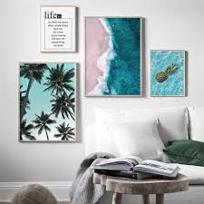 Pineapple Palm Tree Blue Sea Beach Quote <b>Canvas Nordic</b> Posters ...