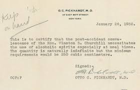 Winston Churchill Gets a Doctor's Note to Drink
