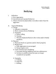 bullying outline bullying