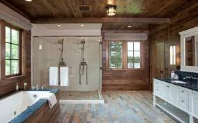design corner shower stall white rustic wooden walls and a tub enclosure mark this bathroom as luxuriou