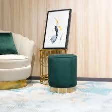 <b>FCH Ottoman Set Round</b> Velvet Footrest Modern Vanity Stool Seat ...