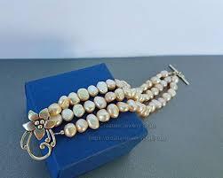 Multi Strand <b>Pearl</b> Bracelet w <b>Flower Shaped</b> Clasp, <b>Natural</b> Peach ...