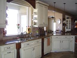 country kitchen cabinets ideas and decor with white stained wooden cabinetery system using brown marble top affordable kitchen furniture
