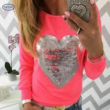 NFIVE Brand 2018 Women Slim Sequins T shirts <b>Candy Fluorescent</b> ...