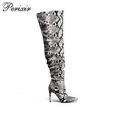 <b>Perixir</b> Strechy <b>Thigh High</b> Boot Snake Skin <b>Over</b> The <b>Knee Boots</b> ...