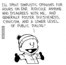 I'll spout simplistic opinions, ridicule, foster divisiveness ... via Relatably.com